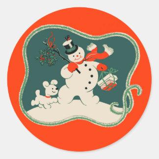 Muñeco de nieve retro pegatina redonda