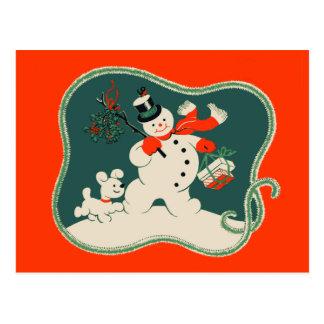 Muñeco de nieve retro postal