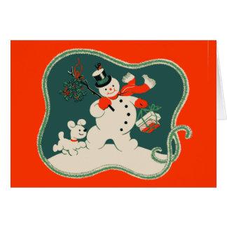 Muñeco de nieve retro tarjeta pequeña