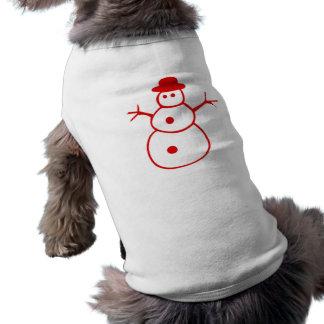 Muñeco de nieve rojo del navidad camiseta de perro