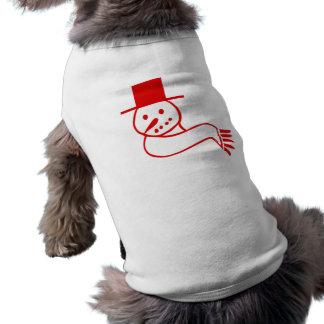 Muñeco de nieve rojo del navidad camisetas de perro