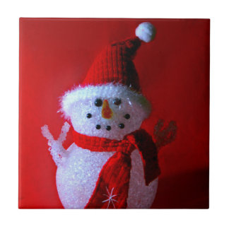 Muñeco de nieve rojo del signo de la paz (Felices  Azulejo Ceramica
