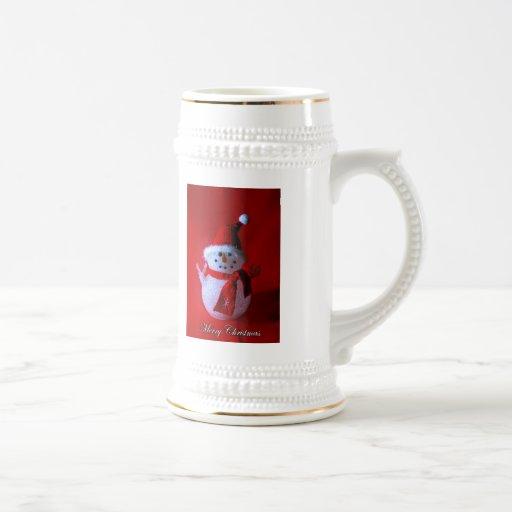 Muñeco de nieve rojo del signo de la paz (Felices  Tazas