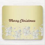 Muñeco de nieve romántico del oro tapetes de ratón