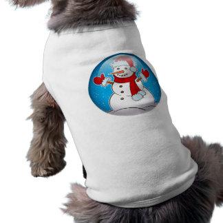 Muñeco de nieve playera sin mangas para perro
