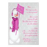 Muñeco de nieve (rosa) - invitación