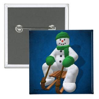 Muñeco de nieve Sledding del vintage Pins