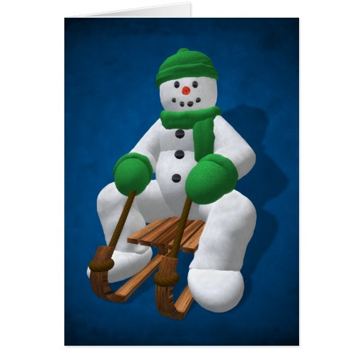 Muñeco de nieve Sledding del vintage Felicitacion