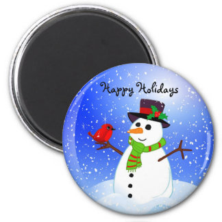 Muñeco de nieve Snowglobe - buenas fiestas imán