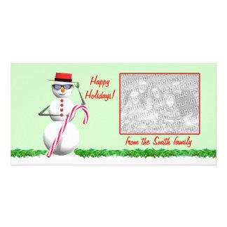 Muñeco de nieve soleado del día de fiesta tarjetas fotograficas