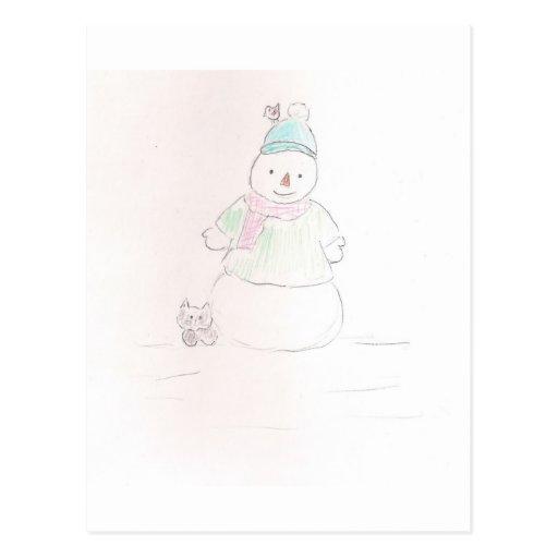 Muñeco de nieve solo postales