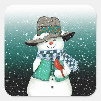 Muñeco de nieve sonriente, cardinal en pegatinas pegatina cuadrada