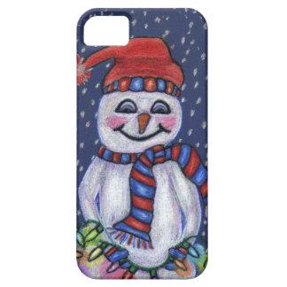 Muñeco de nieve sonriente de las luces de navidad iPhone 5 Case-Mate carcasa