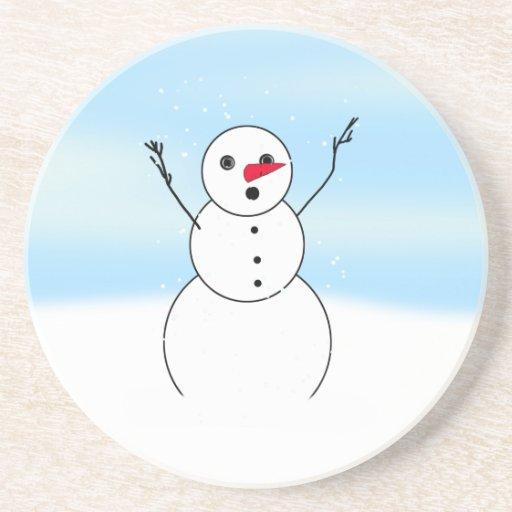 Muñeco de nieve sorprendido del novio posavasos para bebidas