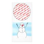 Muñeco de nieve sorprendido del novio tarjeta fotografica personalizada