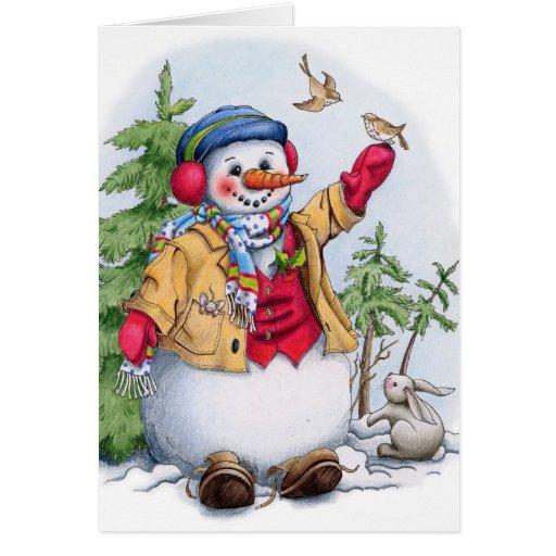 Muñeco de nieve - tarjeta de felicitación