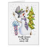 - Muñeco de nieve - tarjeta de Navidad feliz checa