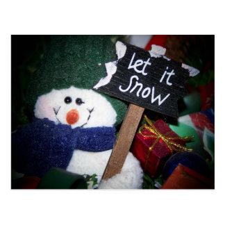 muñeco de nieve tarjeta postal