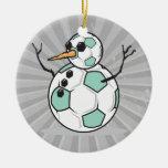 muñeco de nieve tonto del balón de fútbol adorno para reyes