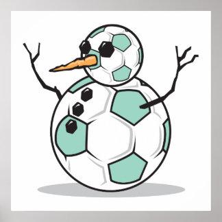 muñeco de nieve tonto del balón de fútbol póster