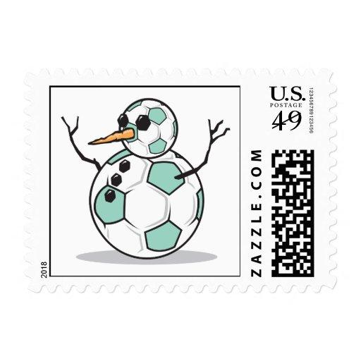 muñeco de nieve tonto del balón de fútbol sello