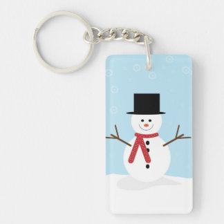 Muñeco de nieve tonto del dibujo animado con los r llavero rectangular acrílico a una cara