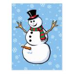 Muñeco de nieve travieso postales