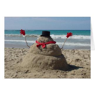 Muñeco de nieve tropical tarjeton