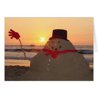 Muñeco de nieve tropical tarjeta de felicitación