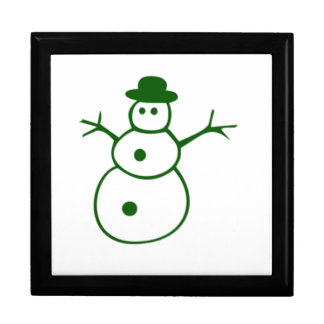 Muñeco de nieve verde del navidad caja de regalo