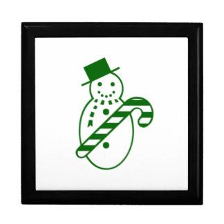 Muñeco de nieve verde del navidad cajas de joyas
