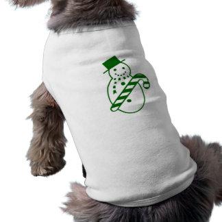 Muñeco de nieve verde del navidad ropa de perros