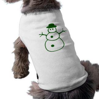 Muñeco de nieve verde del navidad camiseta de mascota