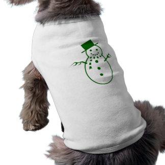 Muñeco de nieve verde del navidad camisas de mascota