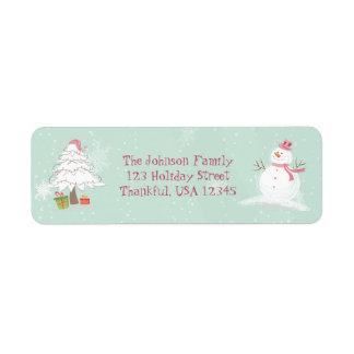Muñeco de nieve y árbol de navidad lindos etiquetas de remite