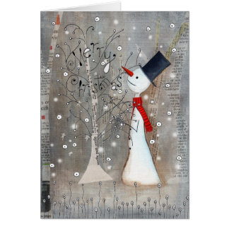 Muñeco de nieve y árbol de navidad tarjeta de felicitación