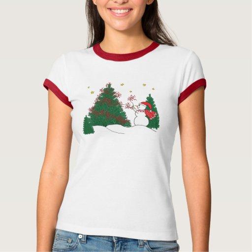 Muñeco de nieve y árbol playeras