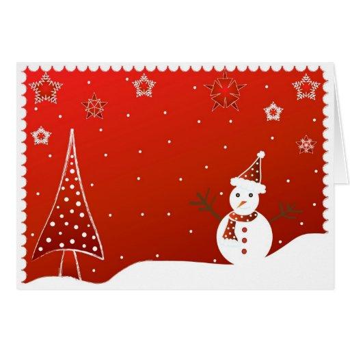 Muñeco de nieve y árbol - tarjeta