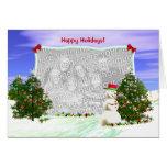 Muñeco de nieve y árboles de navidad (marco de la tarjeta de felicitación