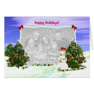 Muñeco de nieve y árboles de navidad (marco de la  felicitaciones