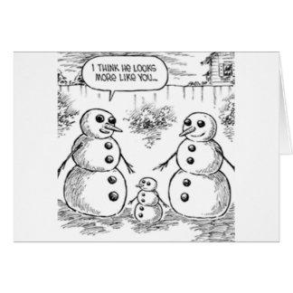 Muñeco de nieve y bebé tarjeta de felicitación