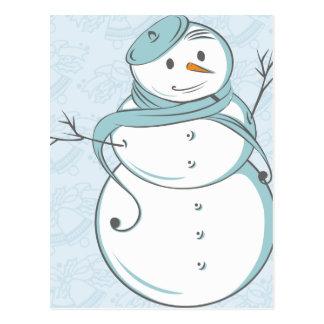Muñeco de nieve y boina azul tarjeta postal