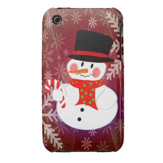 Muñeco de nieve y Candycane iPhone 3 Case-Mate Funda
