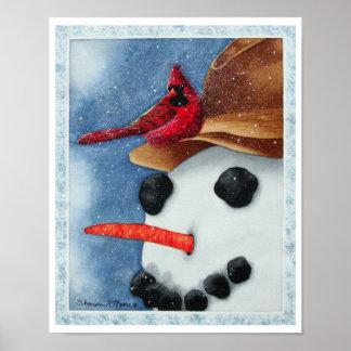 Muñeco de nieve y cardenal felices - póster