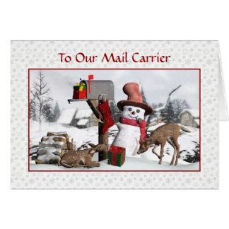 Muñeco de nieve y ciervos buenas fiestas al tarjeta de felicitación