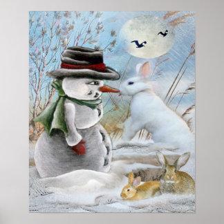 Muñeco de nieve y conejo que comen la impresión de poster