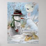 muñeco de nieve y conejo que comen la zanahoria posters