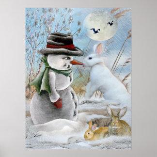 muñeco de nieve y conejo que comen la zanahoria póster