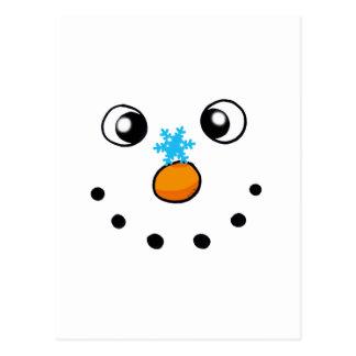 muñeco de nieve y copo de nieve lindos del postal