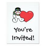 muñeco de nieve y corazón lindos invitación 10,8 x 13,9 cm